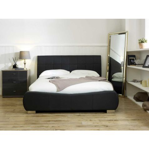 Beds Are Uzzz Dorado Black Faux Leather Bed