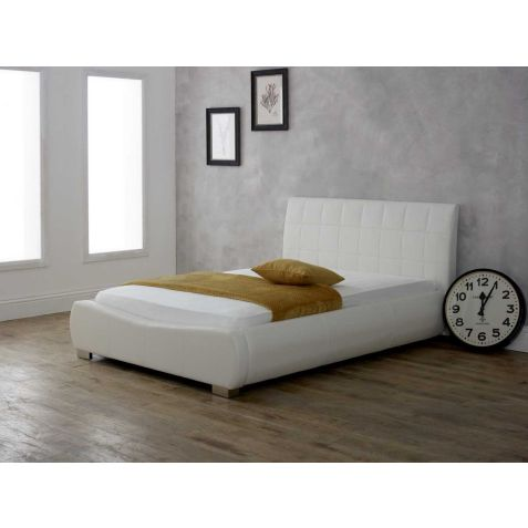 Beds Are Uzzz Dorado White Faux Leather Bed