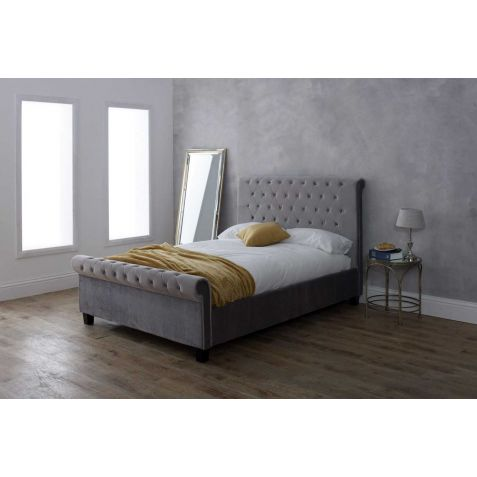 Beds Are Uzzz Orbit Silver Fabric Bed