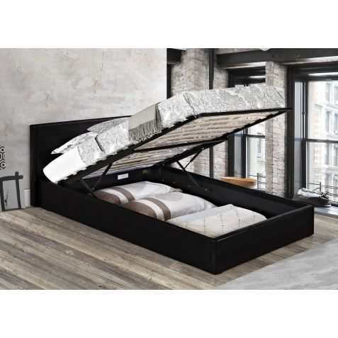 Birlea Berlin Black Faux Leather Ottoman Bedstead