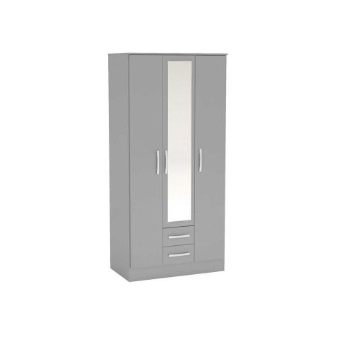 Birlea Lynx Grey 3 Door 2 Drawer Mirrored Wardrobe