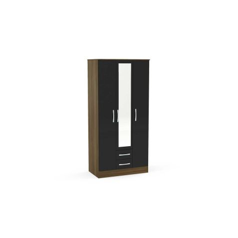 Birlea Lynx Walnut & Black 3 Door 2 Drawer Mirrored Wardrobe