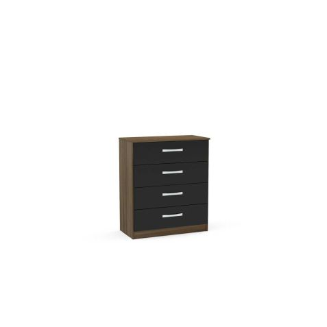 Birlea Lynx Walnut & Black 4 Drawer Chest