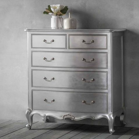 Frank Hudson Chic Silver 5 Drawer Chest