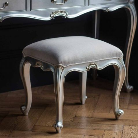 Frank Hudson Chic Silver Dressing Table Stool