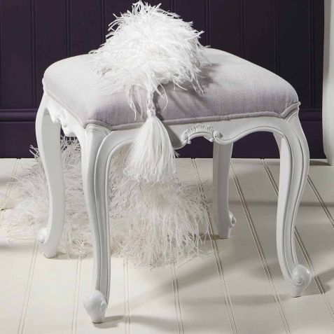 Frank Hudson Chic Vanilla White Dressing Table Stool