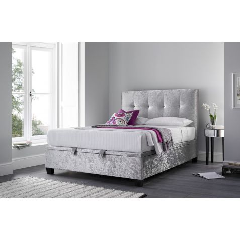 Kaydian Walkworth Ottoman in Crushed Velvet Silver